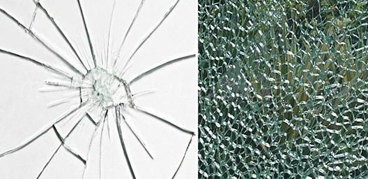 Закаленное и обычное разбитое стекло